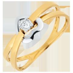 Anello Cuore Volteggio - Oro bianco e Oro giallo - 18 carati - Diamante