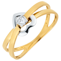 Anello Cuore volteggio - Oro bianco e Oro giallo - 9 carati - Diamante