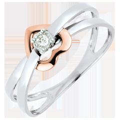 Anello Cuore volteggio - Oro rosa e Oro bianco - 9 carati - Diamante
