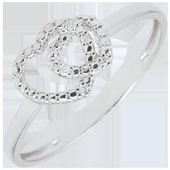 Anello Cuori Complici - Oro Bianco - 9 carati - Diamanti Bianchi