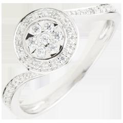 Anello La Danza del Cigno - Oro bianco - 18 carati - 15 Diamanti - 0.11 carati