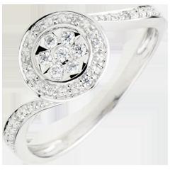 Anello La Danza del Cigno - Oro bianco - 9 carati - 15 Diamanti - 0.11 carati