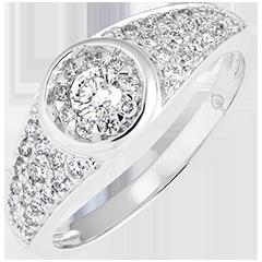 Anello di fidanzamento Destino - Appoline - oro bianco 9 carati e diamanti