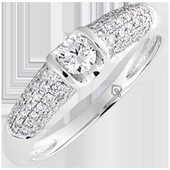 Anello di fidanzamento Destino - Diana - oro bianco 9 carati e diamanti
