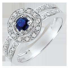 Anello di Fidanzamento Destino - Donna - Zaffiro 0.2 carati e Diamanti - Oro bianco 18 carati