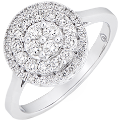 Anello di fidanzamento Destino - Doppio halo cabochon - oro bianco 9 carati e diamanti