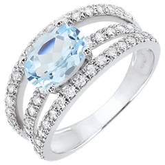 Anello di Fidanzamento Destino - Duchessa Variazione - Topazio 1.5 carati e Diamanti - Oro bianco 18 carati