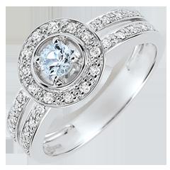 Anello di fidanzamento Destino - Lady - Aquamarina 0.2 carati e Diamanti - Oro bianco 18 carati