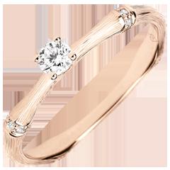 Anello di fidanzamento Giungla Sacra - diamante 0.09 carati - oro rosa spazzolato 18 carati