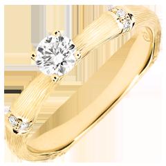 Anello di fidanzamento Giungla Sacra - diamante 0.2 carati - oro giallo spazzolato 18 carati