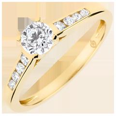 Anello di Fidanzamento Solitario Altezza - Diamante 0.4 carati - Oro giallo 18 carati