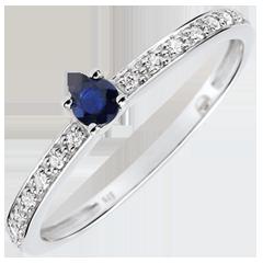 Anello di Fidanzamento Solitario Boreale -Zaffiro 0.12 carati e Diamanti - Oro bianco 9 carati