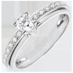 Anello di fidanzamento Solitario Destino - Mia Regina - variazione - Oro Bianco - 18 carati