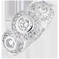 Anello di fidanzamento Trianon - oro bianco 9 carati e diamanti