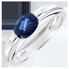 Anello di fidanzamento Vittoria variazione - Zaffiro 1 carato- Oro bianco 18 carati