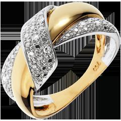Anello Doppio Nodo - Oro bianco e Oro giallo - 18 carati - 9 Diamanti