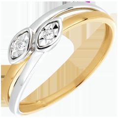 Anello Due Serpenti - Oro bianco e Oro giallo - 18 carati - 2 Diamanti