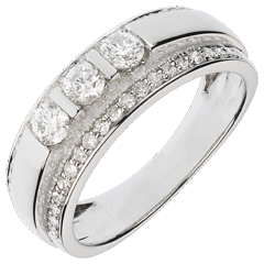 Anello Fantasmagoria - Trilogia semi pavé - Oro bianco - 18 carati - 57 Diamanti - 0.77 carati