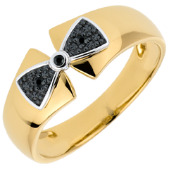 Anello Fiocco Amelie - Oro giallo e Oro bianco - 9 carati - 3 Diamanti neri