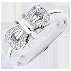 Anello Fiocco Corsetto - Oro bianco - 18 carati - 16 Diamanti