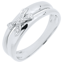 Anello Fiocco dell'Eden - Oro bianco - 9 carati - 5 Diamanti