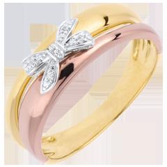 Anello Fiocco dell'Eden - tre Ori - 9 carati - 5 Diamanti