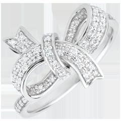 Anello Fiocco Prezioso - Argento - 30 Diamanti - 0.12 carati