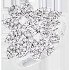 Anello Fiore d'Inverno - oro bianco 9 carati e diamanti