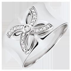 Anello Freschezza - Giglio d'estate - Oro bianco - 9 carati - Diamanti