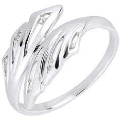 Anello Freschezza - Palme - Oro bianco - 18 carati - Diamanti - 0.032 carati