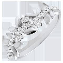 Anello Giardino Incantato - Fogliame Reale - Modello grande - Diamanti e Oro bianco - 18 carati