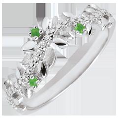 Anello Giardino Incantato - Fogliame Reale - Oro bianco, Diamante e Smeraldi - 9 Carati