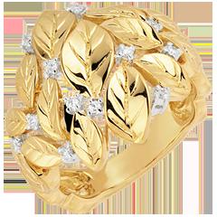 Anello Giardino Incantato - Rosa preziosa - Oro giallo - 18 carati - Diamanti