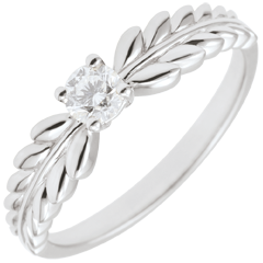 Anello Giardino Incantato - Solitario Fresia - Oro bianco - 9 carati - Diamante