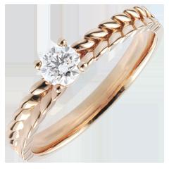 Anello Giardino Incantato - Solitario Treccia - Oro rosa - 9 carati - Diamante