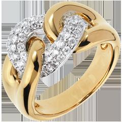 Anello Legame Infinito - Oro bianco e Oro giallo - 18 carati - 48 Diamanti - 0.75 carati
