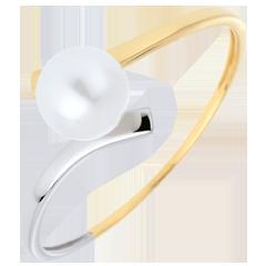 Anello Olympia - Oro bianco e Oro giallo - 18 carati - Perla bianca