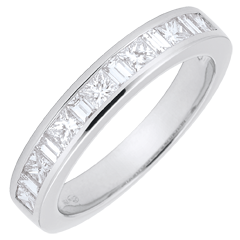 Anello Oro bianco semi pavé - 18 carati - 13 Diamanti - incastonatura a binario - 0.7 carati