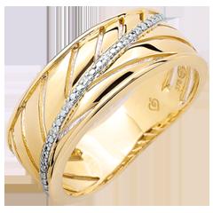Anello Palma - oro giallo 9 carati e diamanti