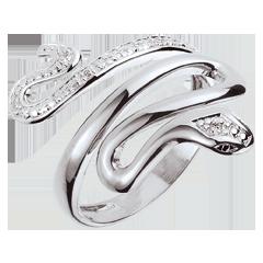 Anello Passeggiata Immaginaria - Minaccia Preziosa - oro bianco e diamanti - 9 carati