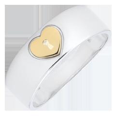 Anello Prezioso Segreto - Cuore - Oro giallo e Oro bianco - 18 carati