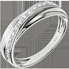 Anello Saturno Diamante - oro bianco - 9 carati