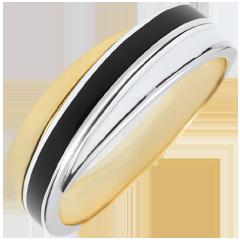 Anello Saturno - Duetto di lacca - Oro bianco e Oro giallo - 9 carati - Lacca nera e bianca