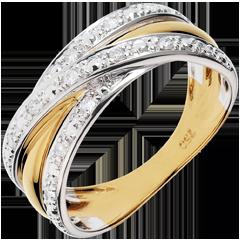 Anello Saturno Illusione - oro giallo, oro bianco - 13 diamanti