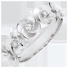Anello Sboccio - Corona di rose - Oro bianco e Diamante - 9 carati