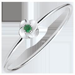 Anello Sboccio - Prima rosa - modello piccolo - Oro bianco e Smeraldo - 9 carati