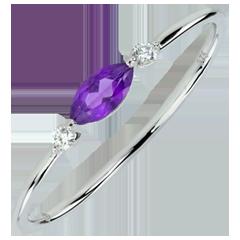 Anello Sguardo d'Oriente - modello piccolo - ametista e diamanti - oro bianco 9 carati
