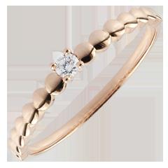Anello Solitario Bonbon d'Oro - Oro rosa - 9 carati - Diamante