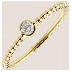 Anello Solitario Fior di Sale - Oro giallo - 18 carati - Diamante