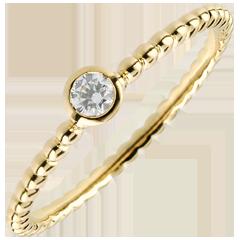 Anello Solitario Fior di Sale - Oro giallo - 9 carati - Diamante